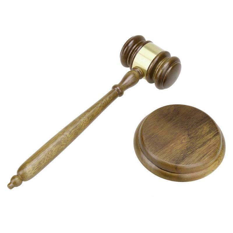 Artesanía de madera hecha a mano, Judge, martillo para subasta, Gavel, decoración de la Corte para el juez, venta de subasta