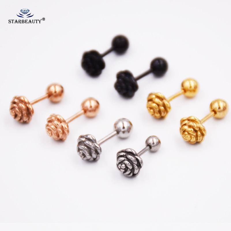 Pendientes de oro rosa, novedad, pendientes de espárragos del cartílago, Piercing Tragus helicoidal, 16 calibres, pendientes, anillos de labio, joyería 1 par