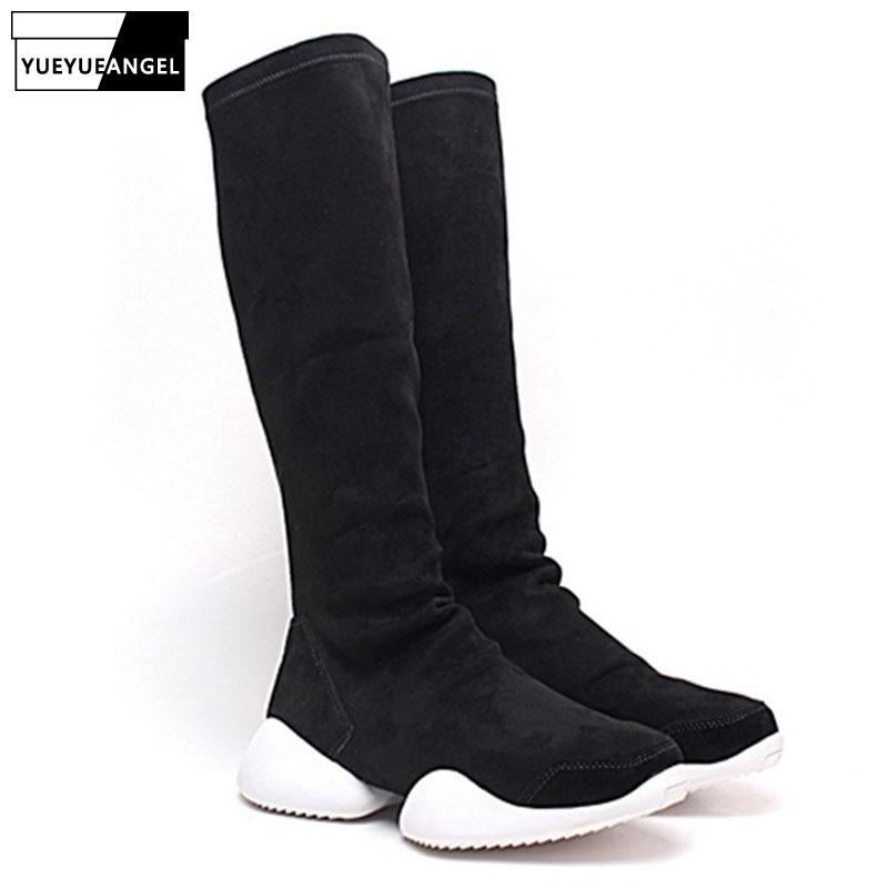 Winter Boots Men Street Casual High Top Stretch Platform Boots for Couple Brand Black Slip On Hip Hop Botas Hombre Plus Size