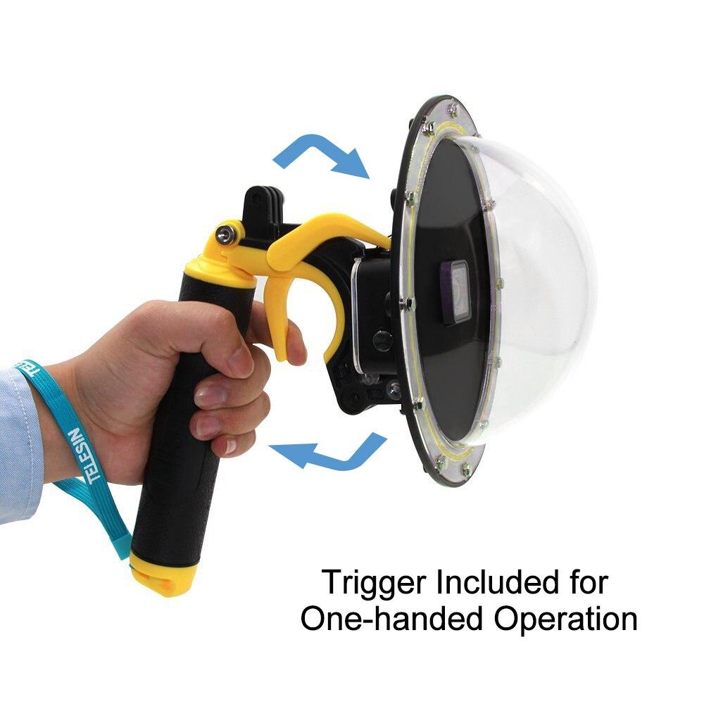 6 hood hood capa de mergulho subaquático cúpula obturador estabilizador pistola gatilho handheld flutuante para gopro hero 4 3 + 3 acessórios
