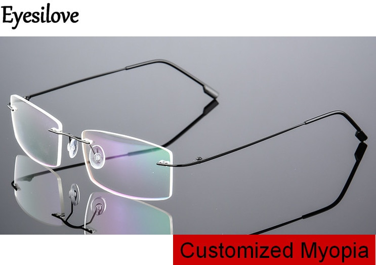 Eyesilove customized myopia glasses for men women rimless frame prescription glasses near-sighted mo