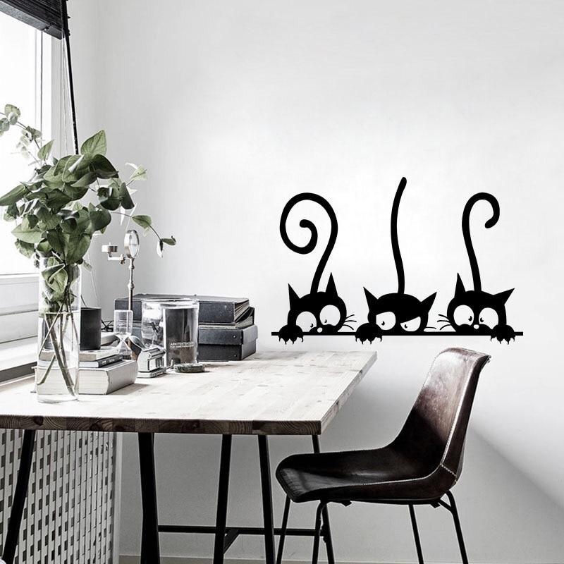 Прекрасные три черных кота DIY наклейки на стену животные украшение комнаты персональные виниловые наклейки на стену