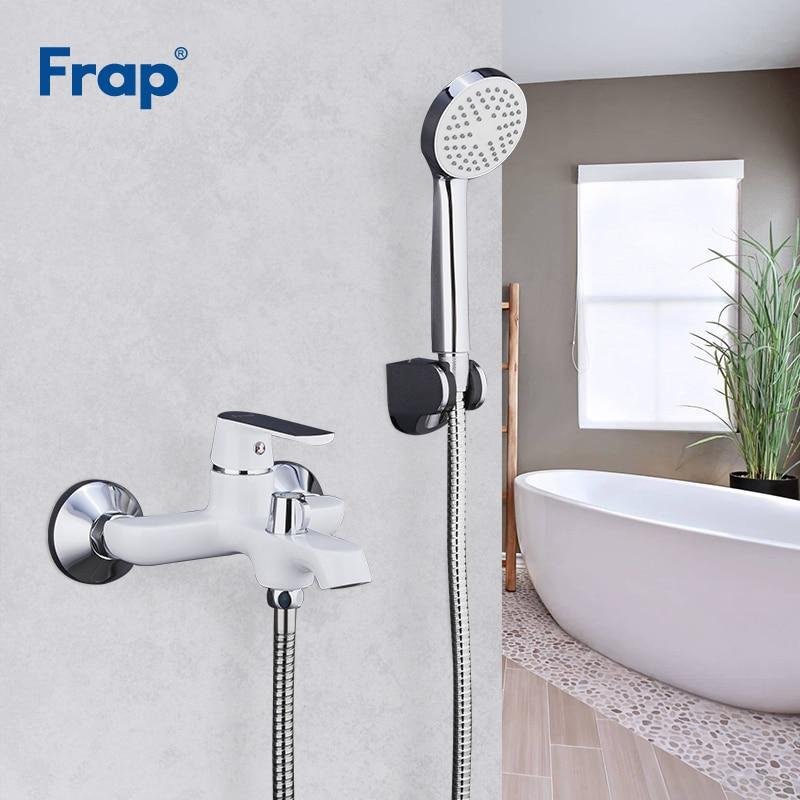 FRAP-حنفيات دش الحمام المثبتة على الحائط من النحاس والكروم ، مجموعة رأس دش ، خلاط حمام أبيض أخضر برتقالي