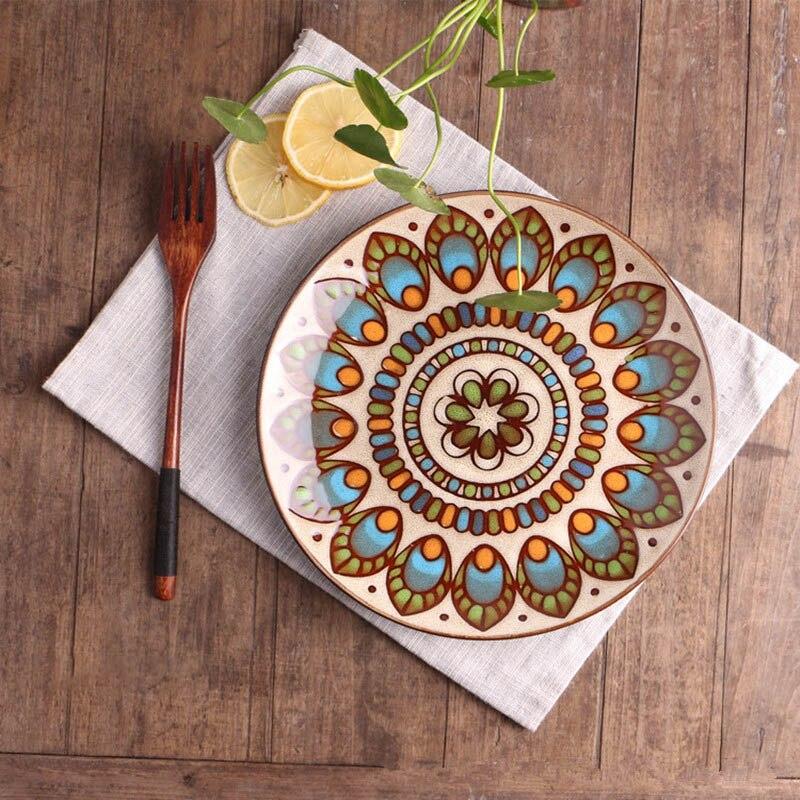Керамическая Цветочная тарелка, ретро-поднос для еды, столовая посуда, западное блюдо для еды, круглая салатная тарелка, расписанные вручну...