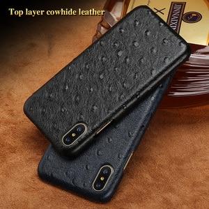 Luxury brand phone case ostrich grain half-wrapped phone case For iPhone 8 phone case full handmade custom processing