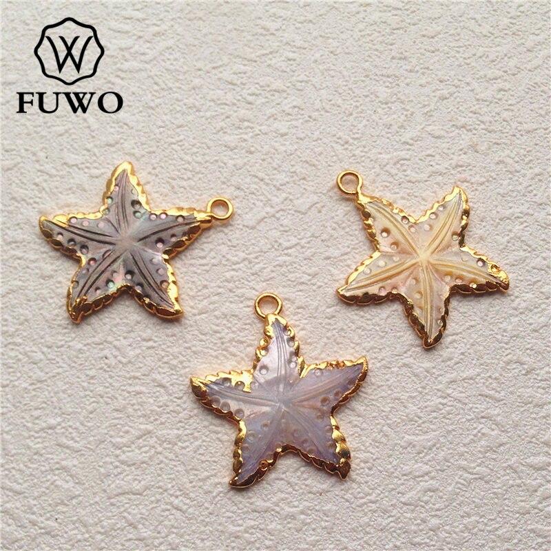 FUWO concha de mar Natural estrella colgante 24K oro Electroplate Mini tallado a mano estrella de mar colgante joyería de moda al por mayor PD506