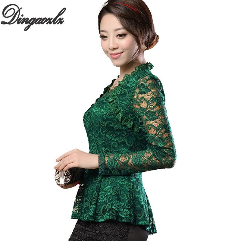 M-4XL de talla grande para mujer, blusas elegantes de encaje con volantes, camisa informal Floral a la moda, blusa sexi de encaje de manga larga para mujer