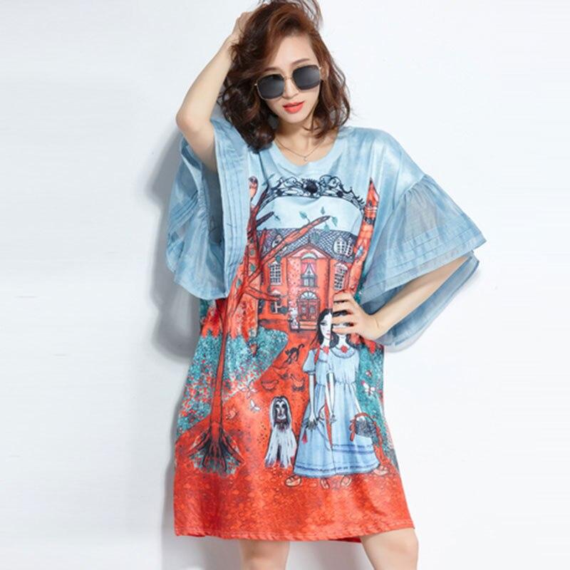 F & JE 2018 novedad de verano moda mujeres Batwing manga suelta rodilla-longitud vestido estampado vintage Casual vestidos de gran tamaño de alta calidad U99