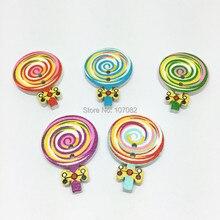 Assortiment de boutons sucettes en bois 19x28mm   Accessoires de couture à motif en spirale, boutons de sucettes pour Scrapbooking, boutons Crats