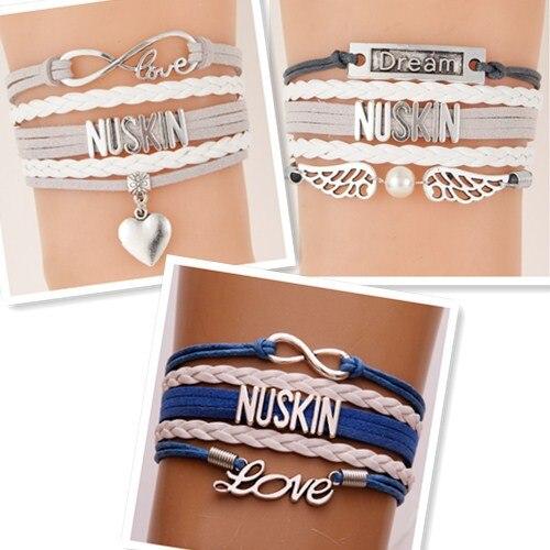 (10 шт./лот) Infinity Love NUSKIN Подвеска для браслета в форме сердца серый Withe Многослойные браслеты и браслеты ювелирные изделия ручной работы для же...