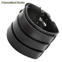 Personnalisé maître personnalisé Bracelets Punk Cool en cuir véritable gravé texte large ceinture Bracelet Bracelet Bracelet manchette Bracelet