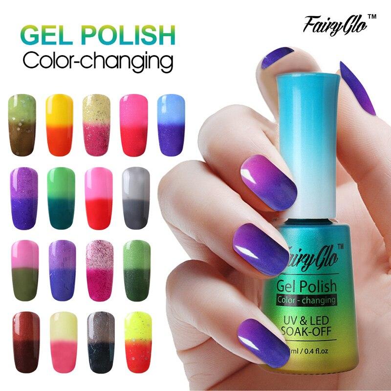 Фэйрyglo 12 мл термо-Гель-лак для ногтей, меняющий цвет, температурный Гель-лак, отмачиваемый УФ-Гель-лак для дизайна ногтей