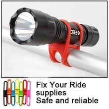 Brand New tanie silikonowe światła rowerowe krawat pasek przenośny telefon uchwyt na latarkę kolarstwo bandaże uchwyt na latarkę zacisk