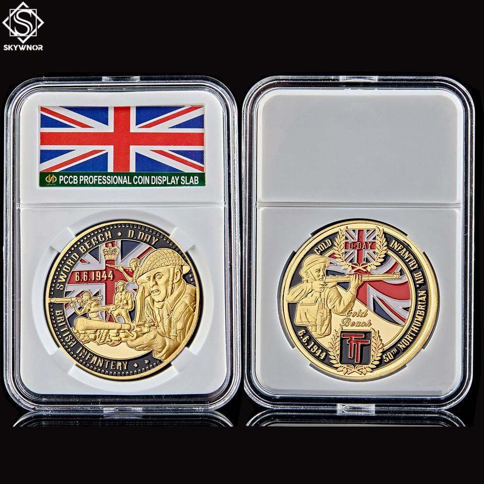 D-DAY de Infantería Británica de la 2. ª Guerra Mundial, 50 ° aniversario, Infantería de Northumbria, moneda de oro, playa, militar, con soporte de cápsula