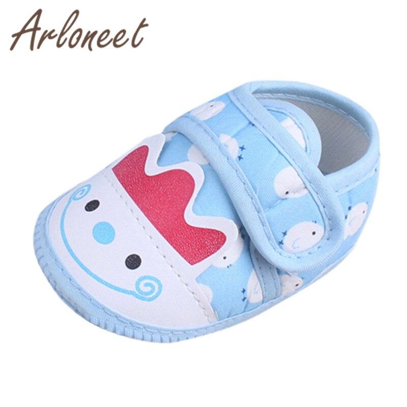 ARLONEET 2019 Newborn boys Girls baby Shoes cotton fabric kid Canvas Anti-slip Shoes cartoon print Sneaker Baby Cloth Crib Shoes