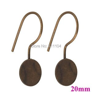 20mm Antique Bronze Plated Flat Circle Pad Bases Cabochons Settings Clip hook Earrings Blank bulk Wholesale