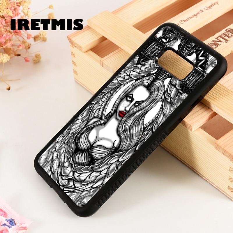 Iretmis S3 S4 S5 case capa do telefone para Samsung Galaxy S6 S7 S8 S9 borda mais Nota 3 4 5 8 9 anjo pin up girl cruz celta tatuagem