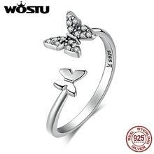 WOSTU Hot Sale 100% 925 Sterling Silver Dancing Butterflies Elegant Rings For Women Fashion S925 Jewelry Gift BKR087