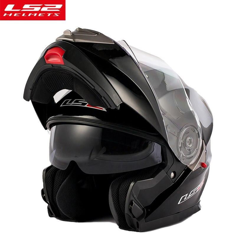 Ls2 ff318 casco moto modular capacete da motocicleta com dupla viseira filp up capacete com interior ensolarado preto escudo original