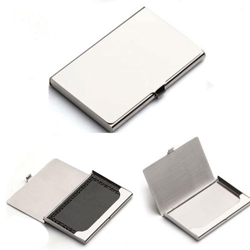 deli business name card box big capacity credit card holder memo pad New Useful Pocket business card holder Business Name Credit ID Card Holder Box Metal Stainless Steel Office Box Case
