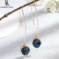 2021 glitter druzy earrings for women fashion gold color round resin stone long dangle drop earring designer jewelry gift