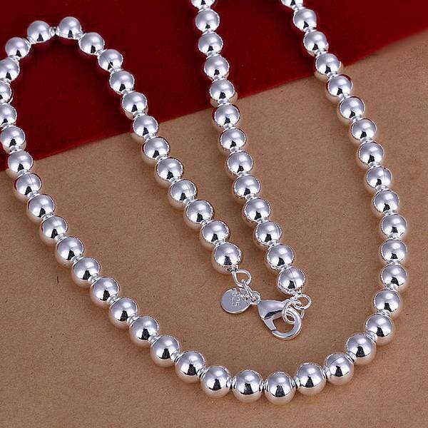 N111 Collar de plata de ley 925, colgante Chapado en plata joyería de moda collar de frijol de 8mm N111/akqajbxa awiajnpa