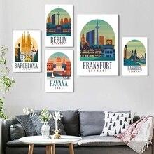 Retro Vintage Barcelona Berlin Frankfurt Hamburg Havana Poster and Print Canvas Wall Art Home Decor No Frame
