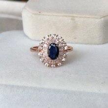 Saphir bleu naturel ovale coupe 5*7mm cabine 0.5ct bague en pierres précieuses design classique bague en argent sterling 925 pour les femmes dame cadeau