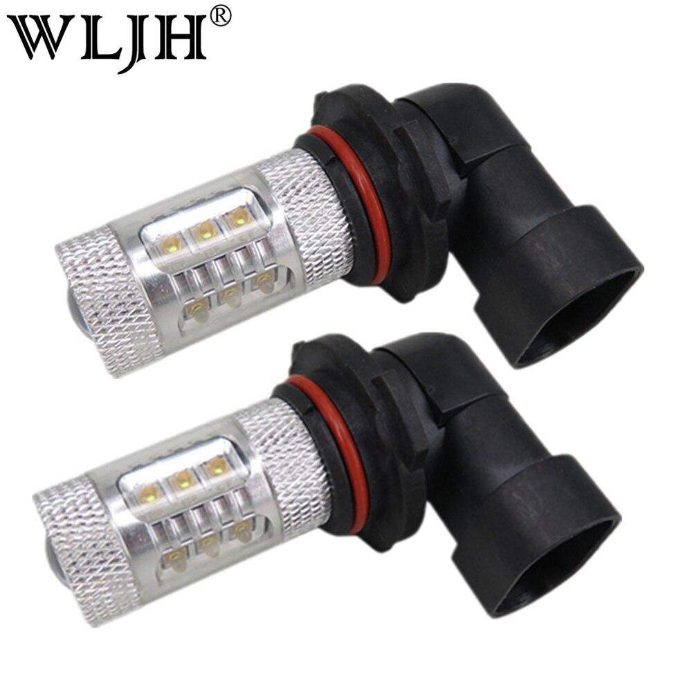 WLJH 2x Super White 80W Led H8 H9 H11 Car Led Light Automobiles Lighting Fog Driving Light Lamp Bulb 12V 24V for Honda Kia Mazda