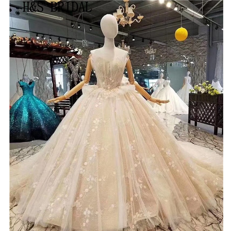 H & S-فستان زفاف من الدانتيل ، ثوب كرة ، منتفخ ، بدون حمالات