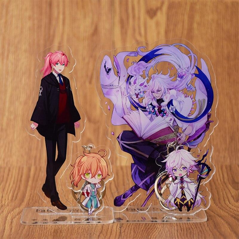 Anime FGO/Gran Orden Merlin Enkidu Abigail Williams Saber Cosplay figura acrílica con soporte de escritorio figura y llavero
