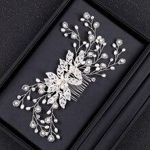 Fleur mariage cheveux peigne mariée cheveux ornements bandeaux perle accessoires pour les femmes laisser épingles à cheveux bijoux de mariage
