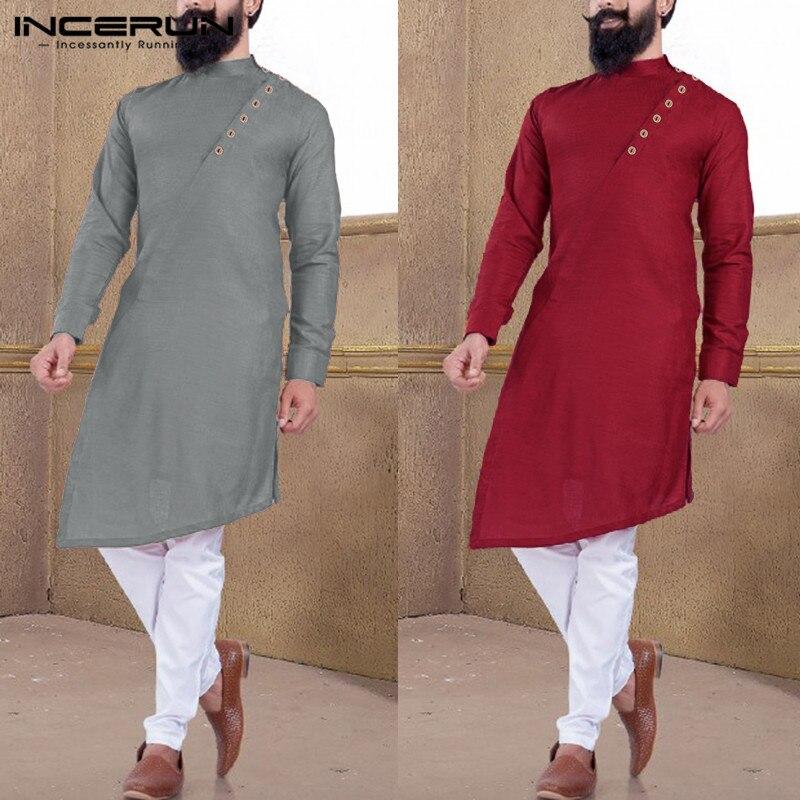 Ropa musulmana de manga larga INCERUN 2020 de Color liso con costuras asimétricas y de manga larga para hombre 5XL