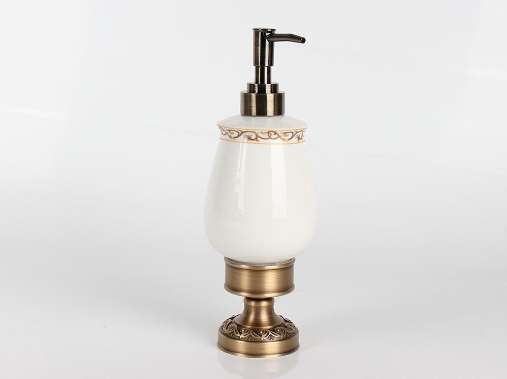 Dispensador de jabón líquido de latón antiguo de escritorio IMPEU, colección de encimera de Hotel, material de latón/cerámica, soporte montado en la pared