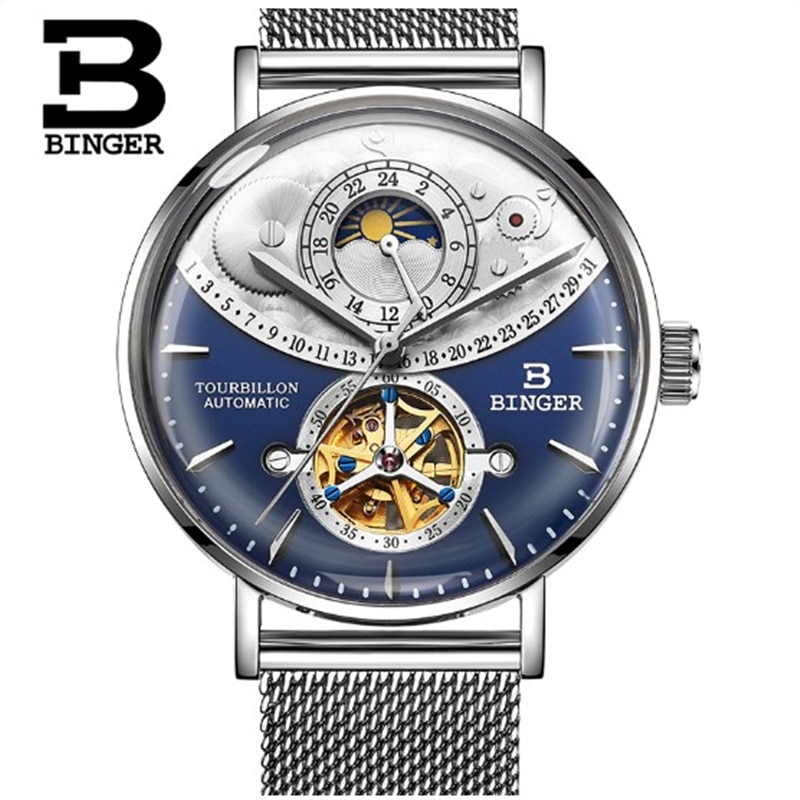Switzerland Automatic Watch Men BINGER skeleton Mechanical Men Watches Full Steel Sapphire Relogio Masculino Waterproof reloj