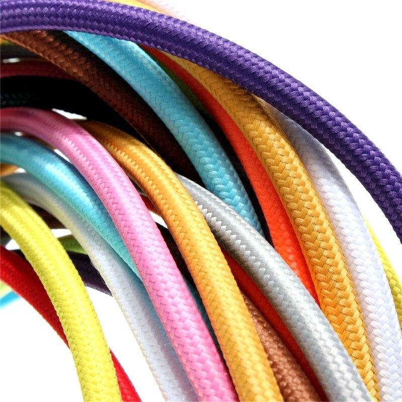 2*0,75 10 mt/los Edison Textil Kabel Stoff Draht Kronleuchter Anhänger Lampe Drähte Geflochtene Tuch Elektrische Kabel Vintage Lampe schnur