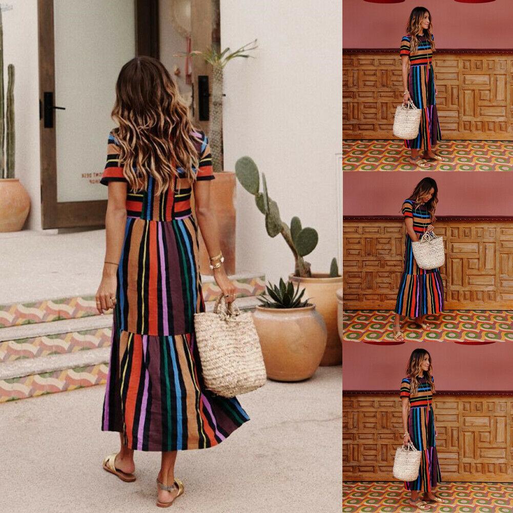 Fashion Womens Floral Long Maxi Rainbow  Strip Dress Short Sleeve Evening Party Summer Beach Dresses Sundress New