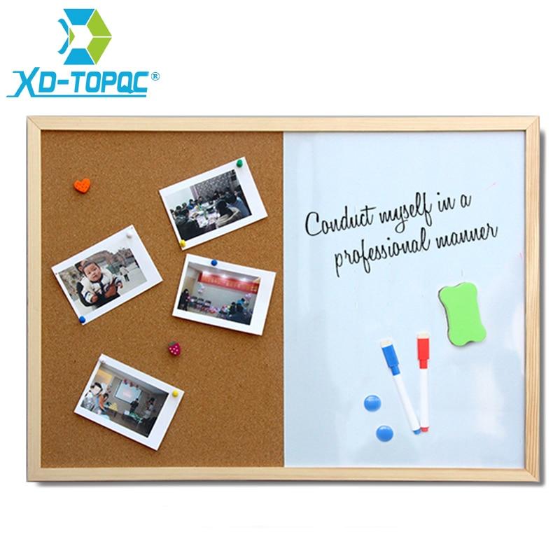 XINDI Message Cork Board Wood Frame Whiteboard Drawing Boards Combination 30*40cm Bulletin Magnetic Marker Board Free Shipping