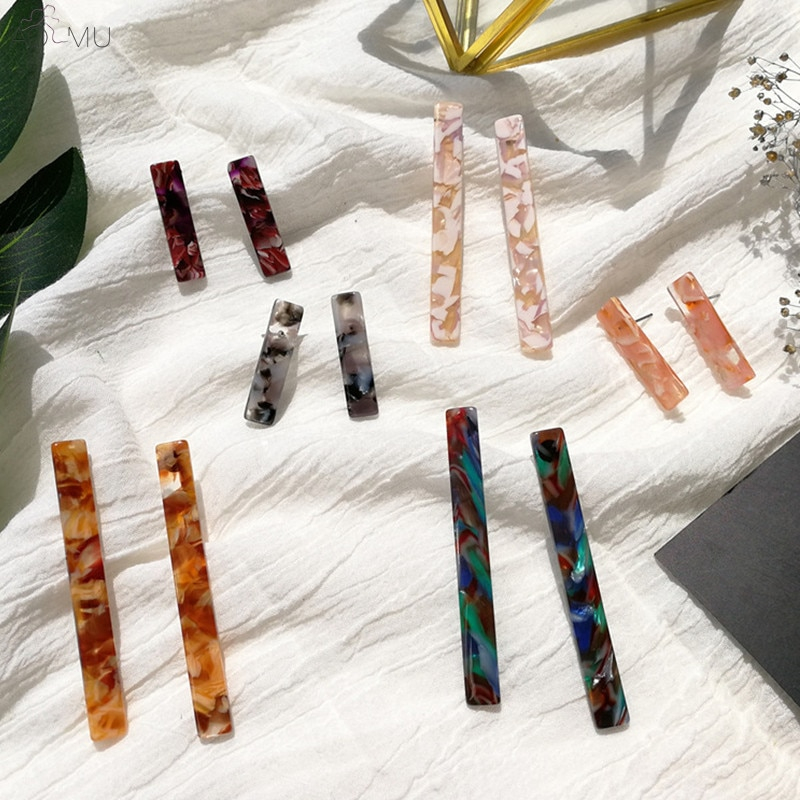 Aomu coréia japão simples hit cor ácido acético acrílico brincos geométrico tira longa gota brincos para mulher menina jóias