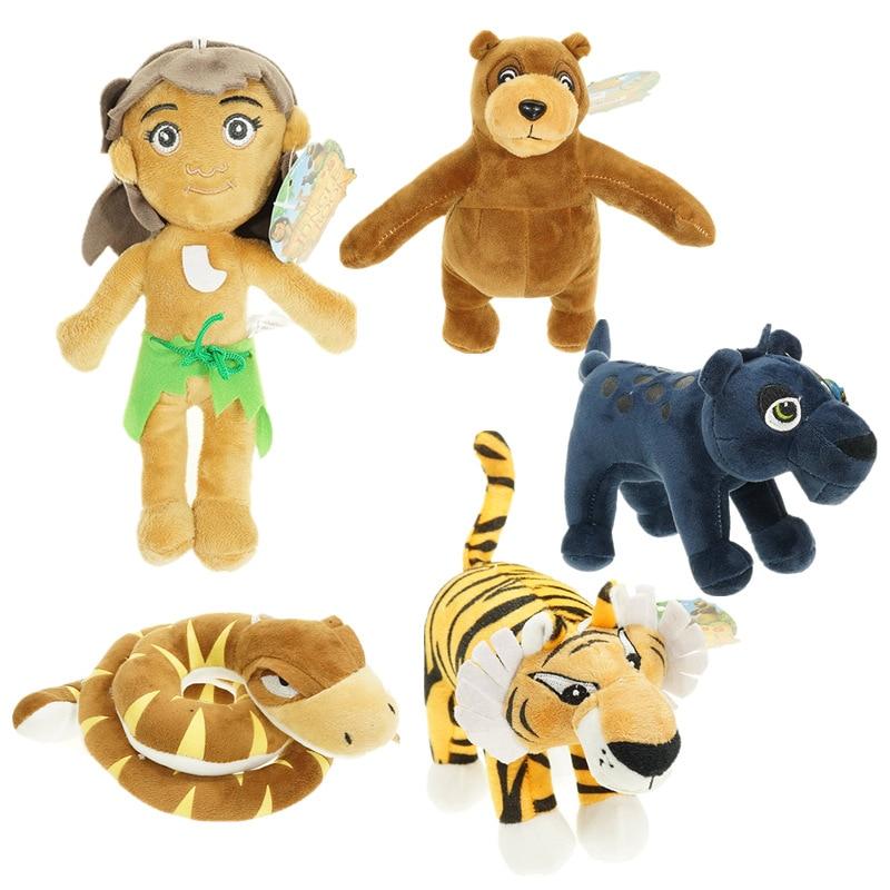 Movie The Jungle Book Plush Toys Mowgli Tiger Shere Khan Snake Kaa Bear Animals Figure Stuffed Dolls Brinquedos 5pcs/lot