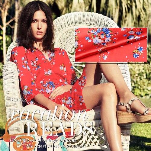 new arrival 108cm wide 93% silk 7% spandex 19mm blue small flower print red elastic silk satin clothes dress shirt fabric