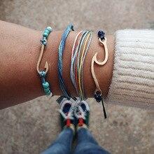 docona 5style Wave Map Tree Eye Shell Charms Multi Layer Bracelet Set for Women Boho Rope Beadeds Pendant Bracelets Set