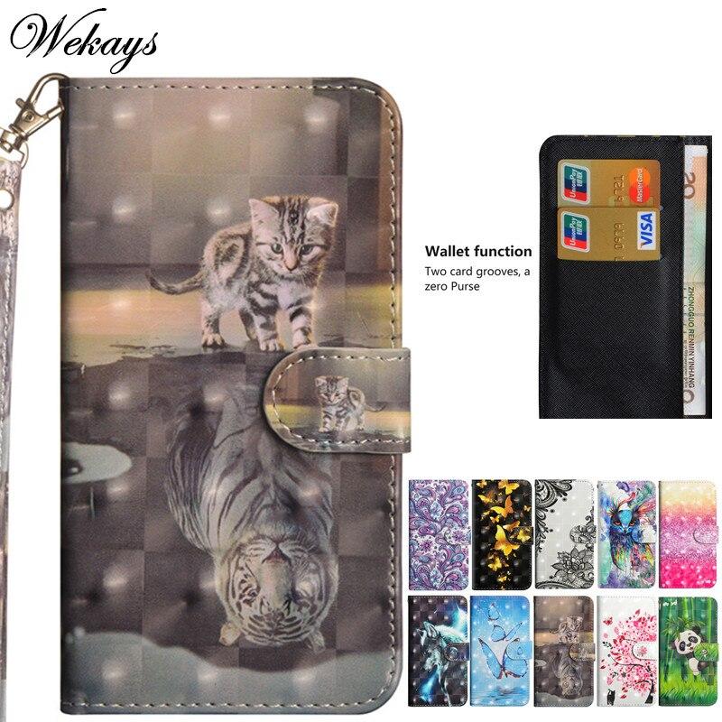 Wekays Cartoon 3D Cat Leather Flip Phone Case For Huawei Y3 Y5 Y6 Y9 2018 Enjoy 8 plus Y5 Y6 2017 P Smart Enjoy 7S Back Cover