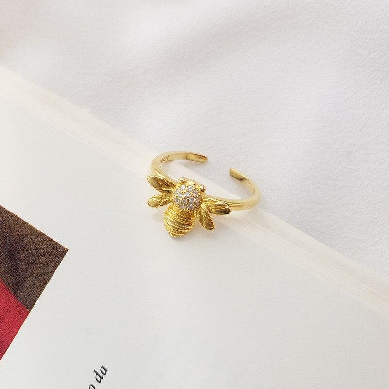 ABC-Anillo de Plata de Ley 925 con diseño de abeja, joyería de...
