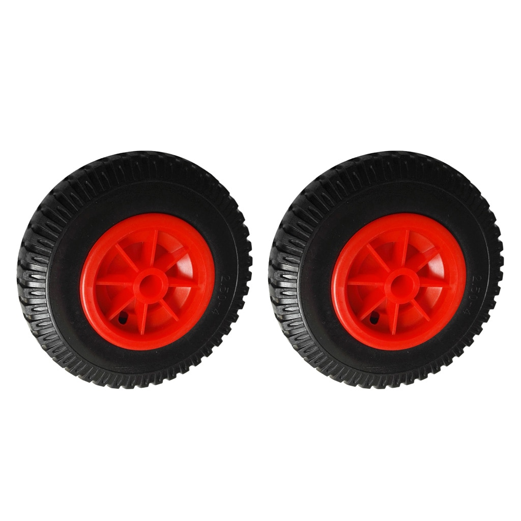 Kayak Trolley Wheels 2 Pcs 25.4cm 22.35mm Spare Puncture Proof Black Tyre on Red Wheel for Kayak Canoe Trolley/ Carrier/ Jockey