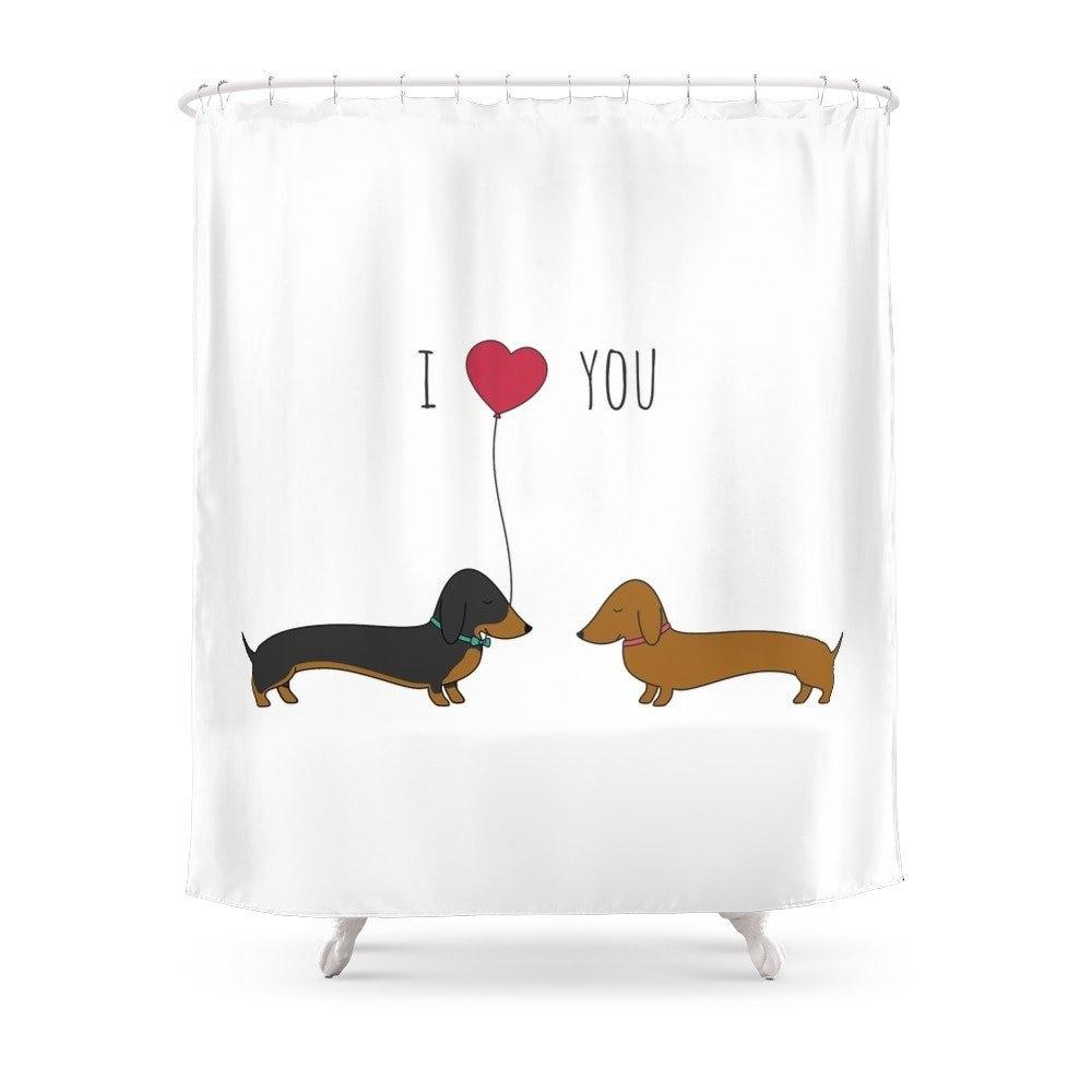 Такса любовь Душ Занавес Набор Ванна занавес для ванной комнаты с нескользящим напольным ковриком