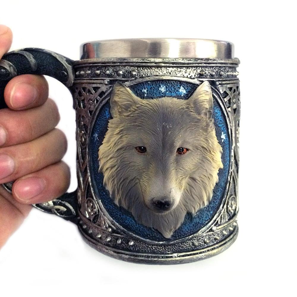 2019 neue Hohe Qualität 3D Wolf König Kopf Muster Becher Retro Harz Edelstahl Kaffee Tee Tasse Geschenk Tasse Bronze monster Tasse