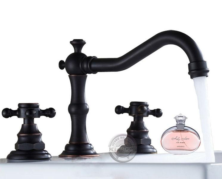 Retro Bathroom double handle faucet.Oil Rubbed Bronze faucet. Basin sink Mixer Tap.3 hole two handle faucet 3 pcs GY-808ORB