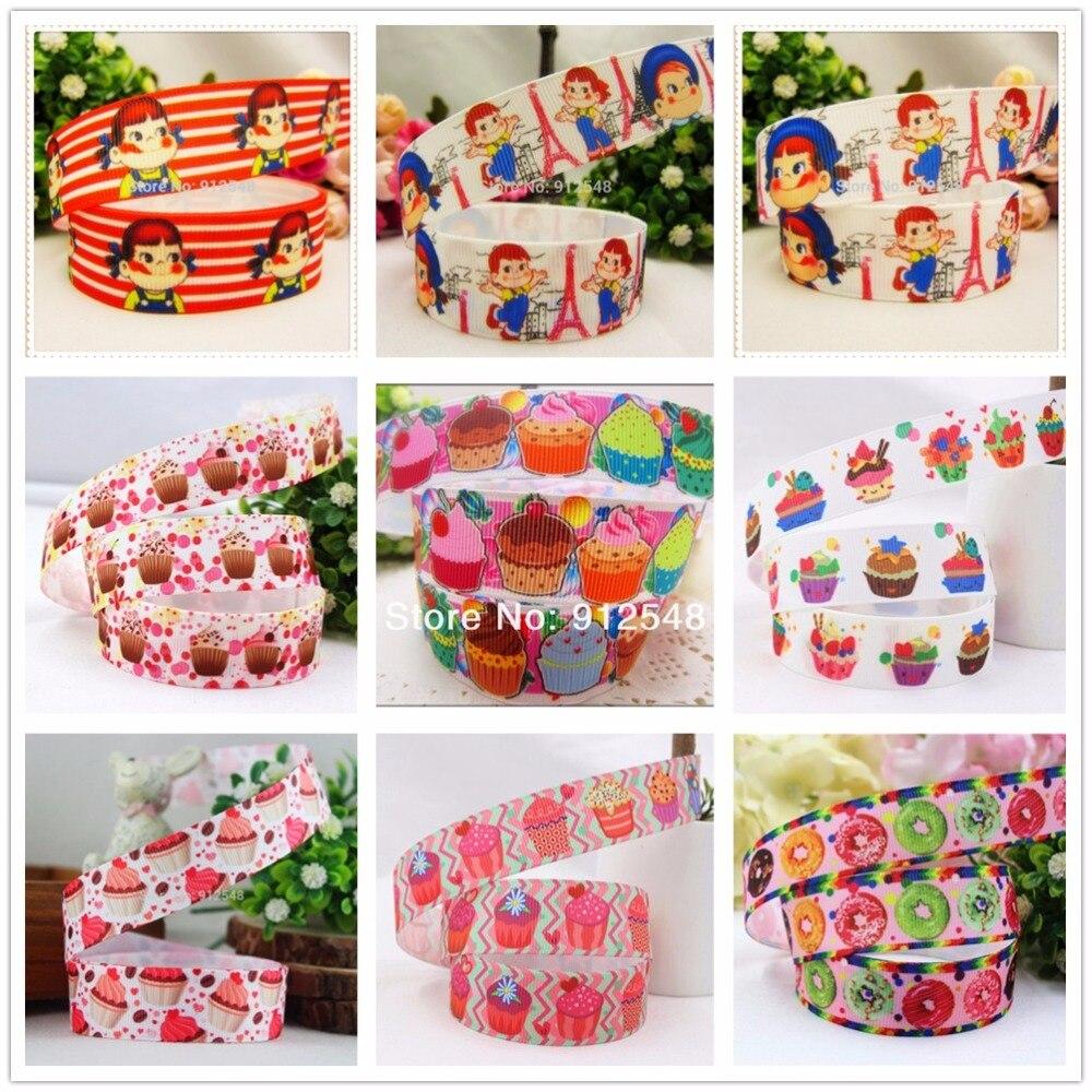 YJHSMY 14102926,22mm 10 yardas de dibujos animados serie de pastel de helado impreso cinta grosgrain, accesorios de ropa, paquete de boda DIY