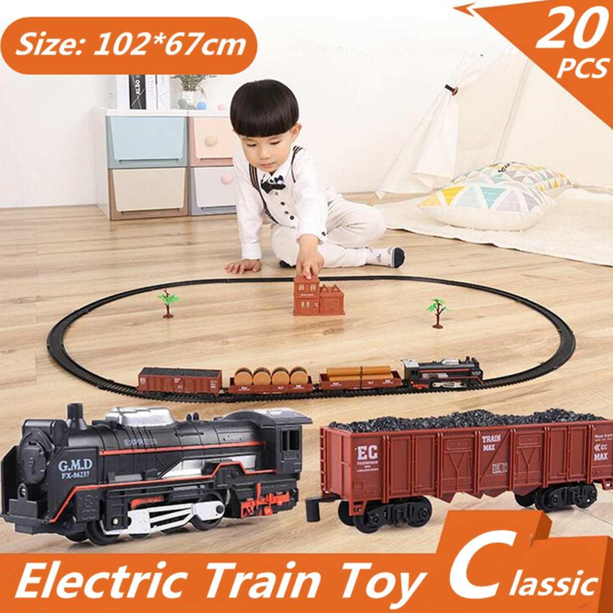 20 piezas-Tren de carreras eléctrico para niños, juguete de tren ferroviario